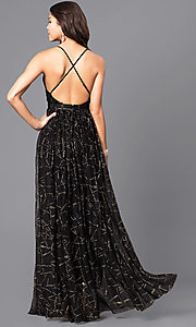 Image of long prom dress with low v-neck and adjustable straps. Style: LUX-LD3451 Back Image
