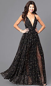 Image of long prom dress with low v-neck and adjustable straps. Style: LUX-LD3451 Front Image