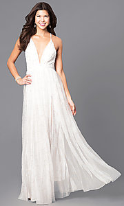 Image of long prom dress with low v-neck and adjustable straps. Style: LUX-LD3451 Detail Image 2