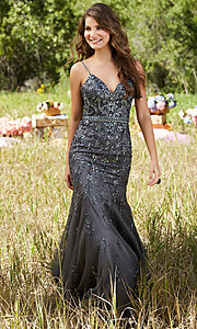 Long Beaded Open Back V-Neck Prom Dress