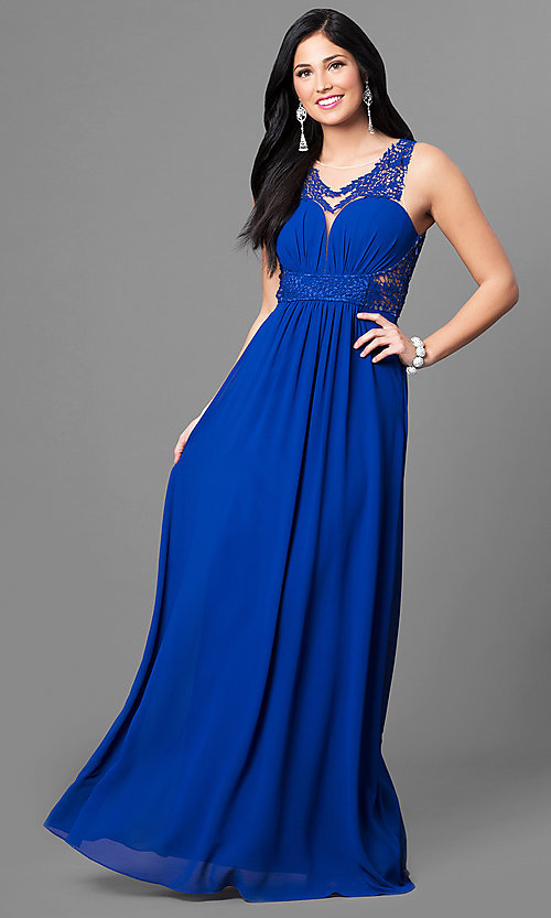 Image of long sheer-back blue prom dress with lace applique. Style: MT-8419 Detail Image 1
