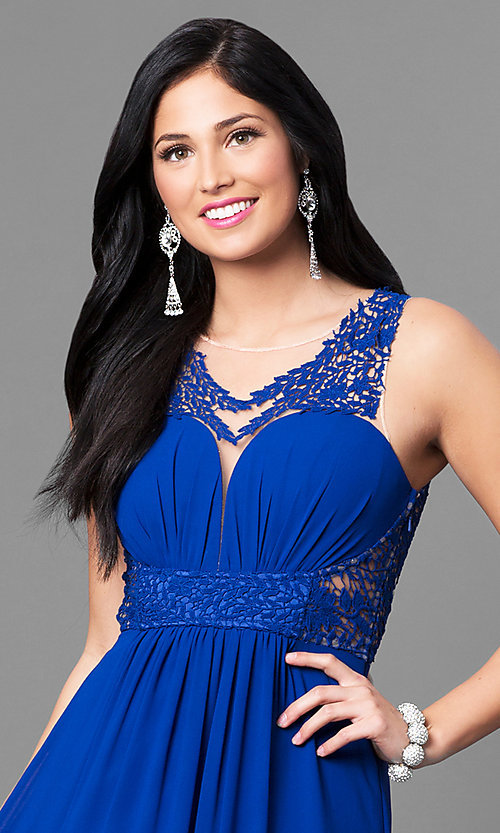 Image of long sheer-back blue prom dress with lace applique. Style: MT-8419 Detail Image 2