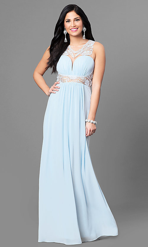 Image of long sheer-back blue prom dress with lace applique. Style: MT-8419 Front Image