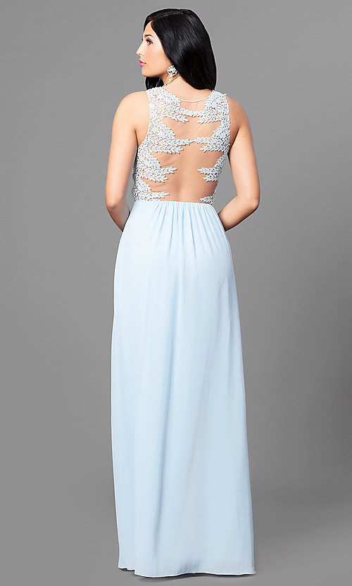 Image of long sheer-back blue prom dress with lace applique. Style: MT-8419 Back Image