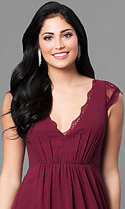 Image of cap-sleeve long prom dress with v-neck and lace. Style: MT-8421 Detail Image 1
