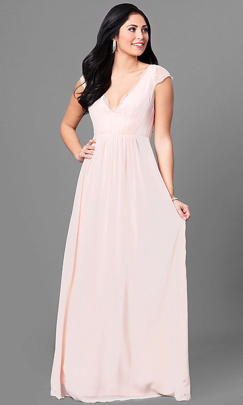 Image of cap-sleeve long prom dress with v-neck and lace. Style: MT-8421 Front Image