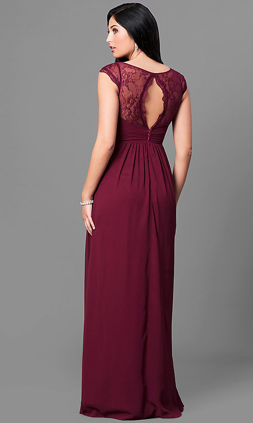 Image of cap-sleeve long prom dress with v-neck and lace. Style: MT-8421 Back Image