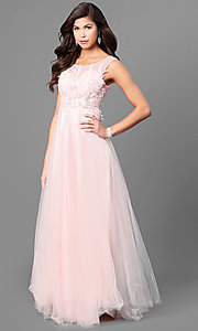 Image of lace-applique bodice long prom dress with bateau neck. Style: MT-8443 Detail Image 3