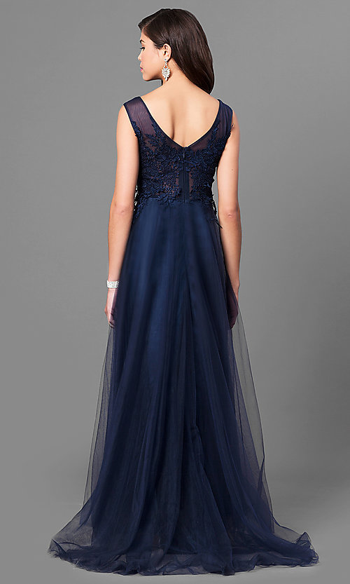 Image of lace-applique bodice long prom dress with bateau neck. Style: MT-8443 Back Image