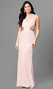 Blush Pink Long Illusion Prom Dress