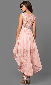Image of short high-low lace semi-formal prom dress. Style: MT-8445 Back Image