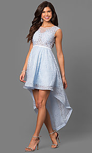 Short High-Low Lace Semi-Formal Prom Dress