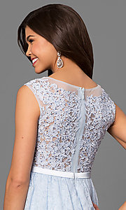 Image of short high-low lace semi-formal prom dress. Style: MT-8445 Detail Image 1