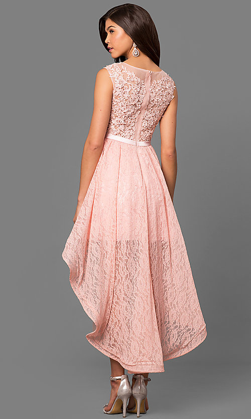 Semi-Formal Lace High-Low Prom Dress - PromGirl