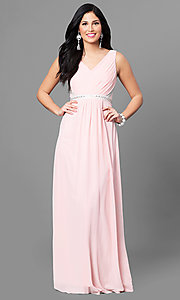 Image of pastel long v-neck prom dress with jeweled waist. Style: MT-7230 Front Image