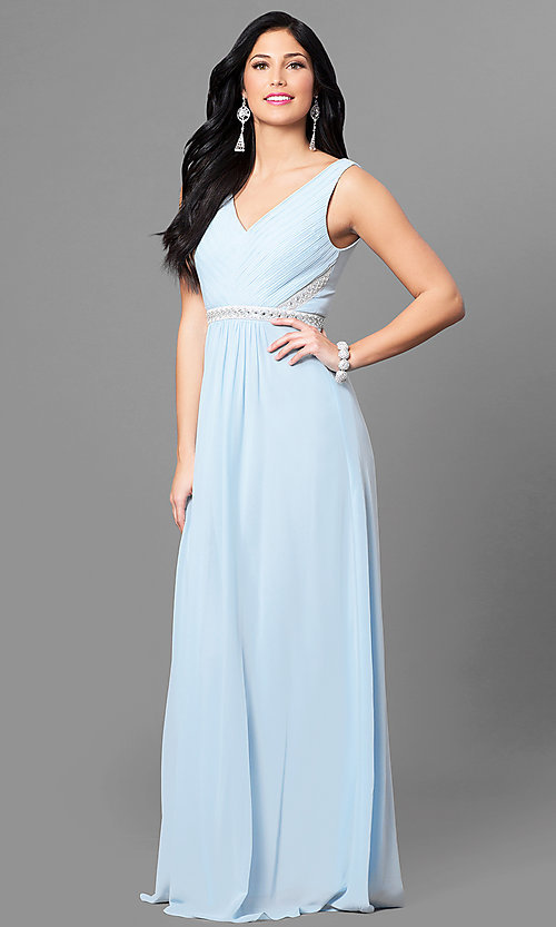 Image of pastel long v-neck prom dress with jeweled waist. Style: MT-7230 Detail Image 1