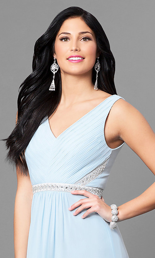 Image of pastel long v-neck prom dress with jeweled waist. Style: MT-7230 Detail Image 2