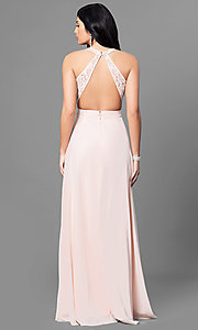 Image of long lace-bodice prom dress with low v-neck. Style: MT-8439 Back Image