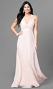 Long Lace-Bodice Prom Dress with Low V-Neck
