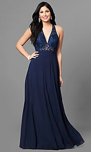 Image of long lace-bodice prom dress with low v-neck. Style: MT-8439 Detail Image 1
