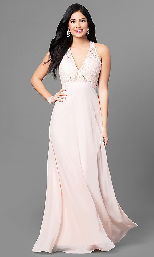 Image of long lace-bodice prom dress with low v-neck. Style: MT-8439 Front Image