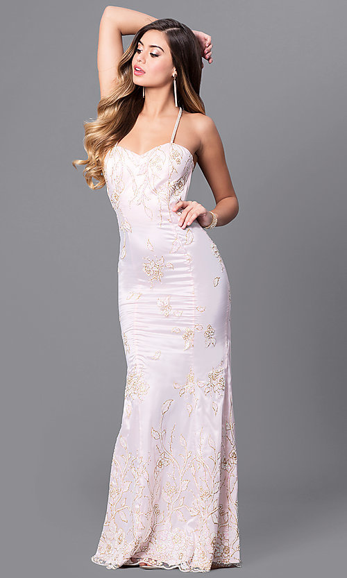 Image of glitter-print long prom dress with multi-strap back. Style: MT-7640 Detail Image 1