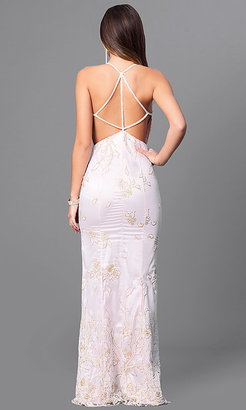 Image of glitter-print long prom dress with multi-strap back. Style: MT-7640 Back Image