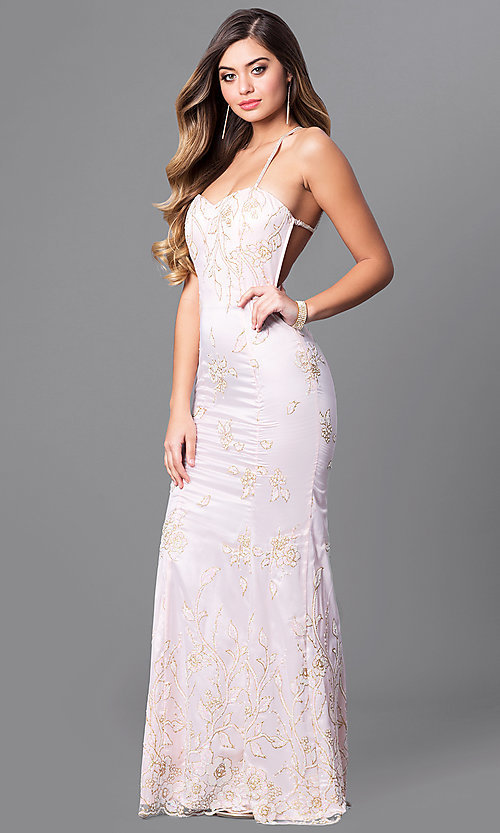 Image of glitter-print long prom dress with multi-strap back. Style: MT-7640 Front Image