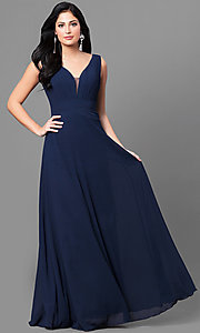 Image of long navy blue chiffon prom dress with ruched v-neck. Style: MT-8442-1 Front Image