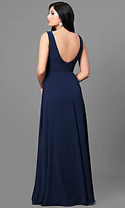 Image of long navy blue chiffon prom dress with ruched v-neck. Style: MT-8442-1 Back Image