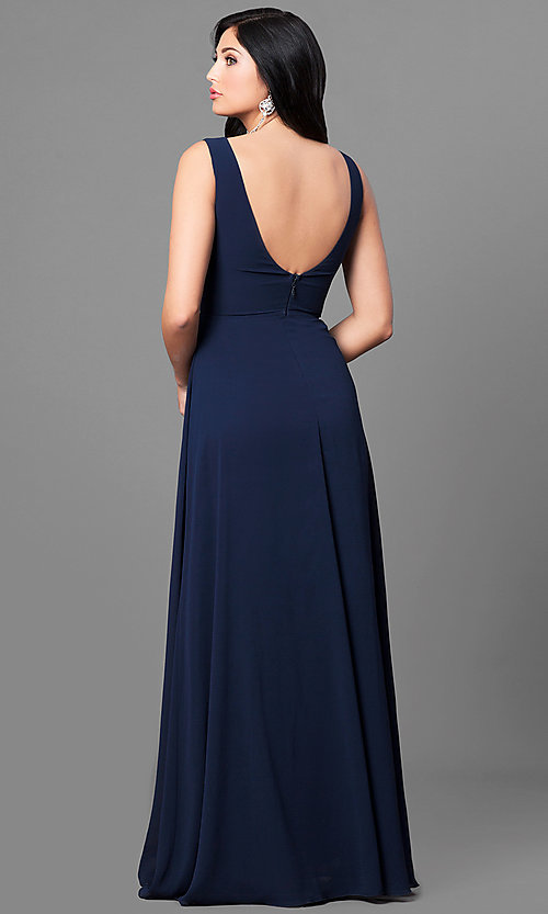 799bf477faf Image of long navy blue chiffon prom dress with ruched v-neck. Style