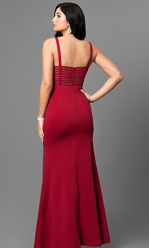 Image of illusion cut-out long prom dress with side slit. Style: MT-8396 Back Image