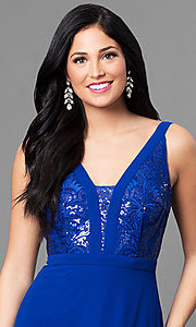Image of royal blue chiffon long evening dress with sequins. Style: MT-8320 Detail Image 1