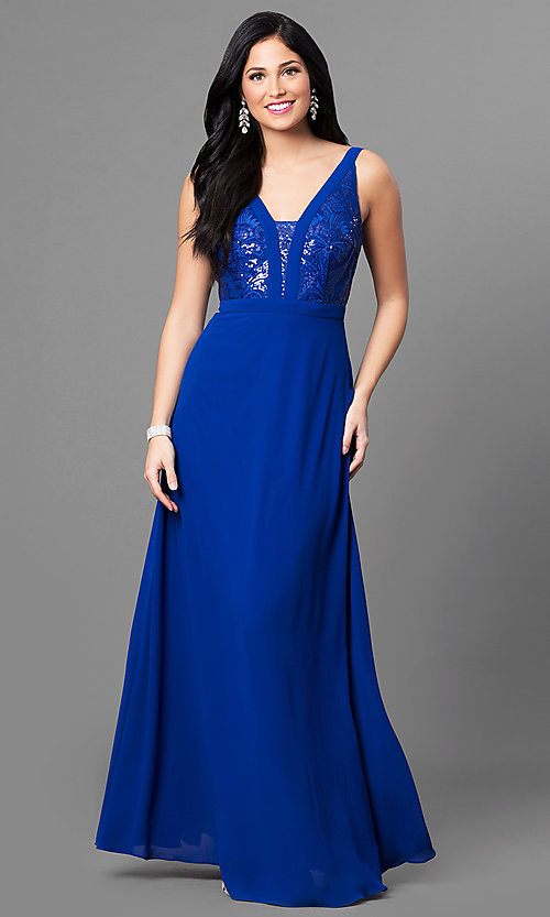 Image of royal blue chiffon long evening dress with sequins. Style: MT-8320 Front Image