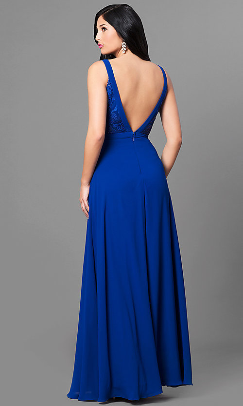 Image of royal blue chiffon long evening dress with sequins. Style: MT-8320 Back Image