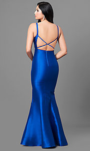 Image of open-back mermaid prom dress in royal blue satin. Style: MT-8432 Back Image