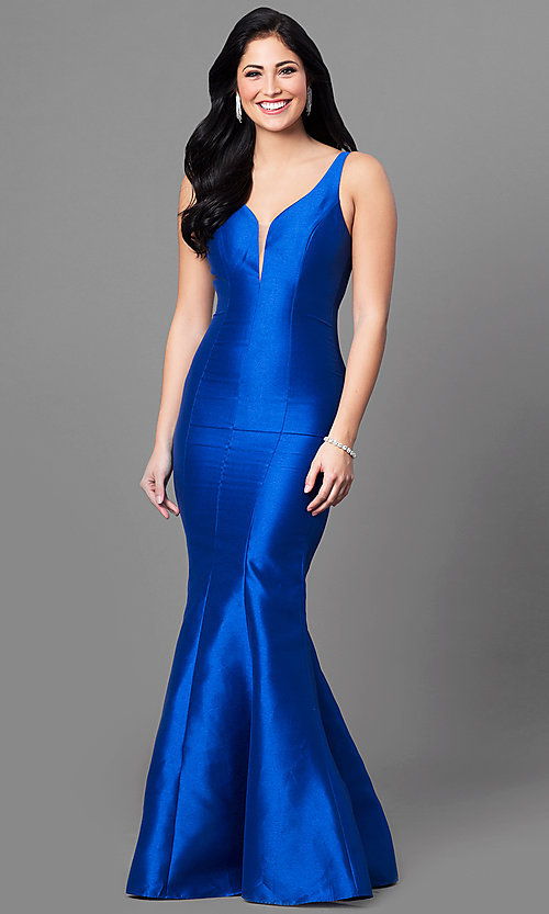 Image of open-back mermaid prom dress in royal blue satin. Style: MT-8432 Front Image