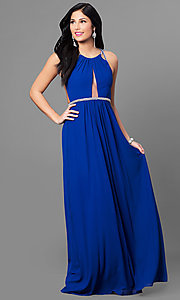 Royal Blue Long Prom Dress with Multi-Strap Back