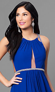 Image of royal blue long prom dress with multi-strap back. Style: MT-7666-2 Detail Image 1