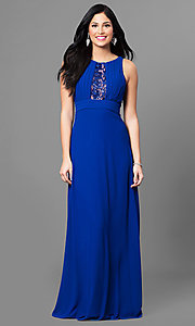 Long Royal Blue Prom Dress with Lace Back
