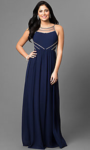 Beaded Trim Long Prom Dress with Sheer Back
