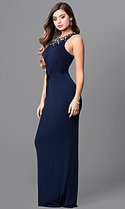 Image of long navy blue prom dress with jeweled neckline. Style: MT-8066-1 Front Image