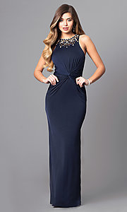 Image of long navy blue prom dress with jeweled neckline. Style: MT-8066-1 Detail Image 2