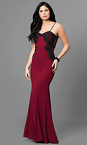 Image of burgundy sweetheart mermaid open-back prom dress. Style: MT-8332-1 Front Image