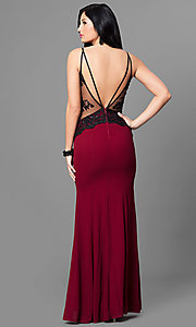 Image of burgundy sweetheart mermaid open-back prom dress. Style: MT-8332-1 Back Image