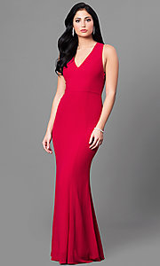 Image of long red v-neck chiffon prom dress with back bow. Style: MT-8233-1 Front Image