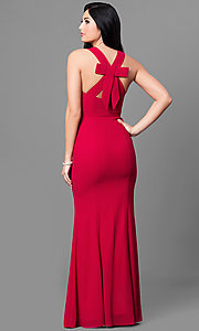 Image of long red v-neck chiffon prom dress with back bow. Style: MT-8233-1 Back Image