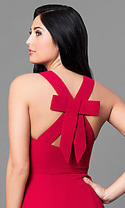 Image of long red v-neck chiffon prom dress with back bow. Style: MT-8233-1 Detail Image 2
