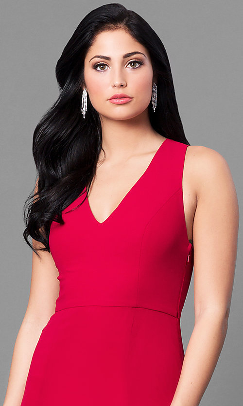 Image of long red v-neck chiffon prom dress with back bow. Style: MT-8233-1 Detail Image 1