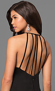 Image of keyhole high-neck long prom dress with open back. Style: MT-8180 Detail Image 2